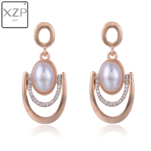XZP Ethnic Gold Silver Plated Metal Big Pearl Crystal Pave Drop Earrings for Women Evil Eye Dangle Vintage Jewelry Gift