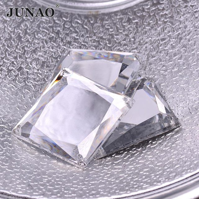 JUNAO 35mm Big Clear White Crystals Sew On Square Rhinestones Appliques  Flatback Mirror Stones Sewing Acrylic 508545c13bab