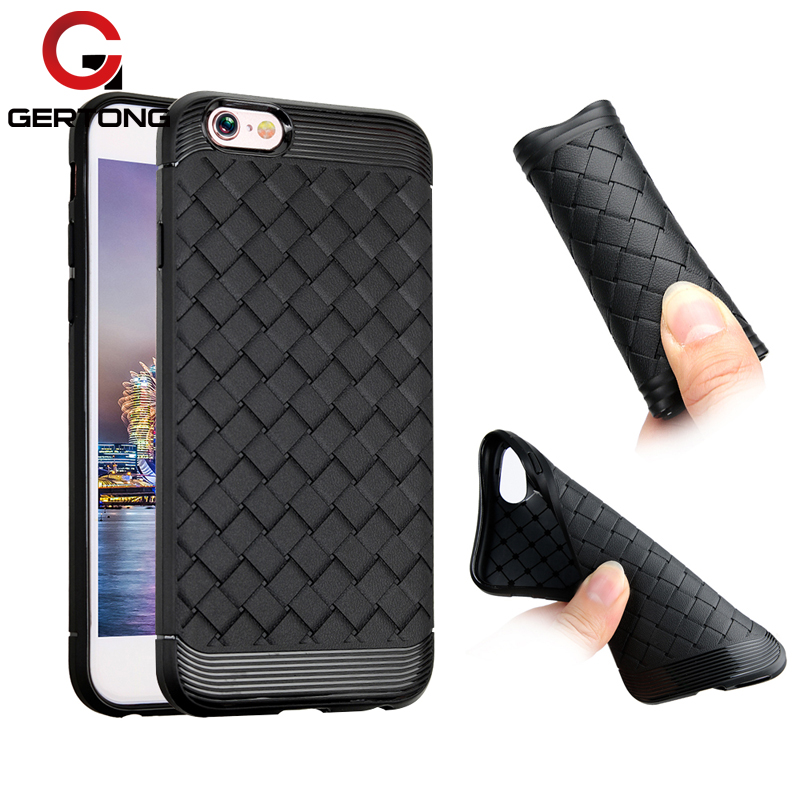 GerTong Grid Weaving Case For iPhone 8 7 6 S Cover Matte Coque Capa For iPhone7 8 6 6s Plus Ultra Thin Silicone Protective Cases