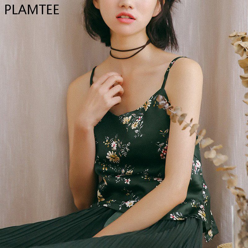 PLAMTEE Vintage Floral Cami Summer Style Women Tank Tops Chiffon Spaghetti Strap Crop Tops New Arrival Backless Camisoles Vest