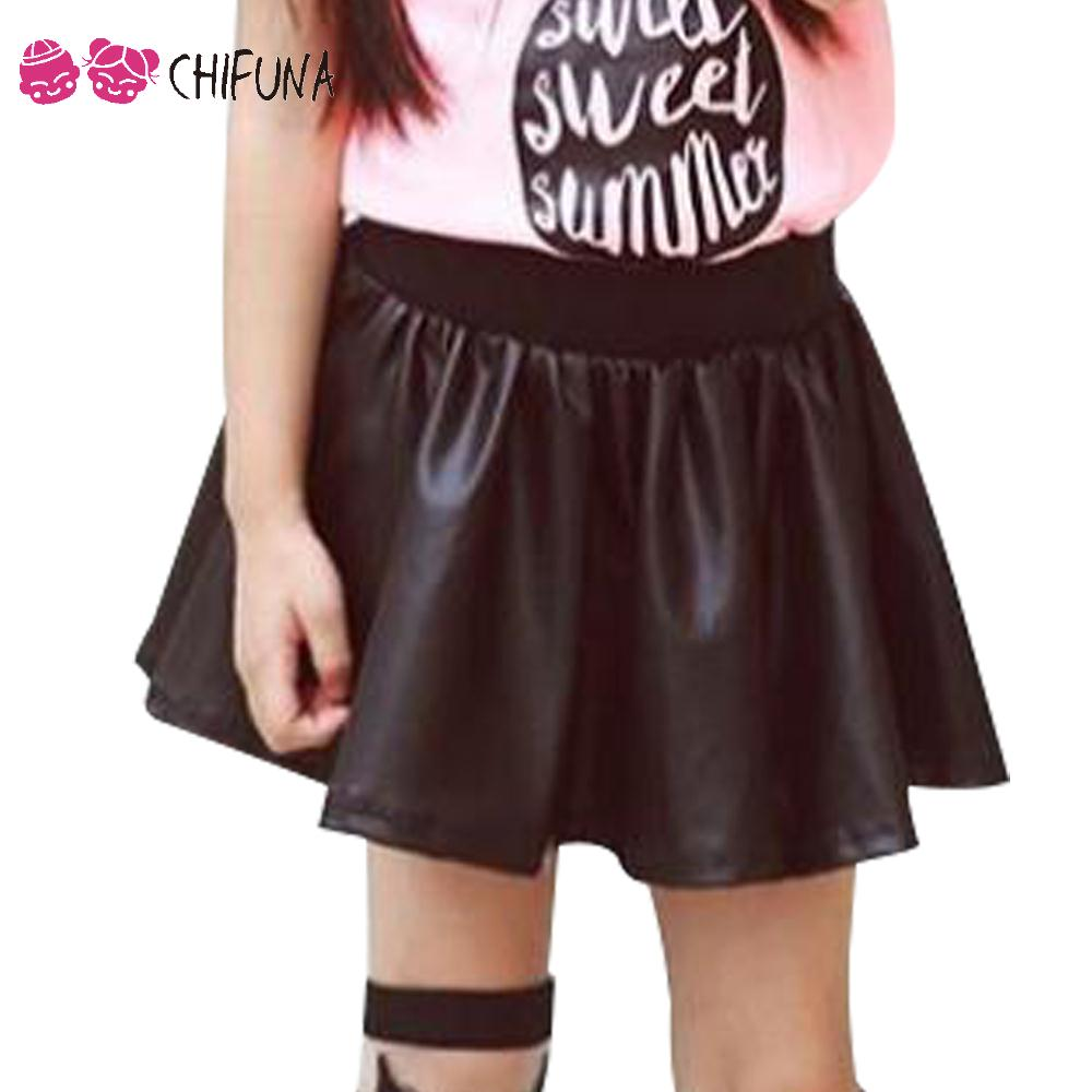 New 2017 Girls Skirt Autumn Good Quality Children PU Leather Skirt Baby Bottoms Outfits Kids Fashion