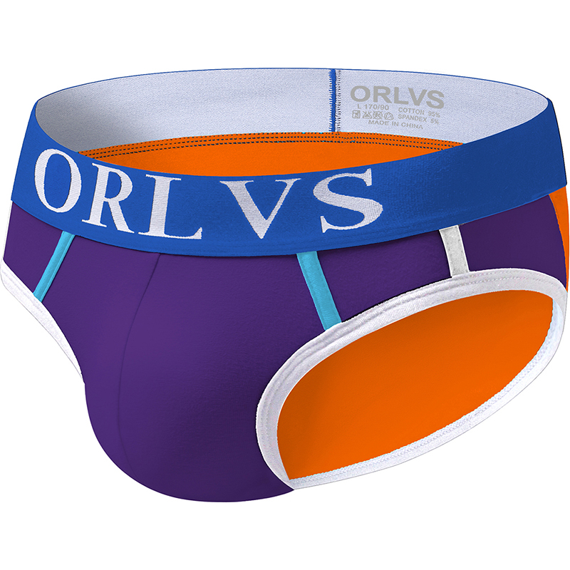 ORLVS Sexy Men Undrewear Briefs Gay Mens Bikini Brief Men Cotton Stripe Slip 3D Pouch Underwear 3 Colors OR13
