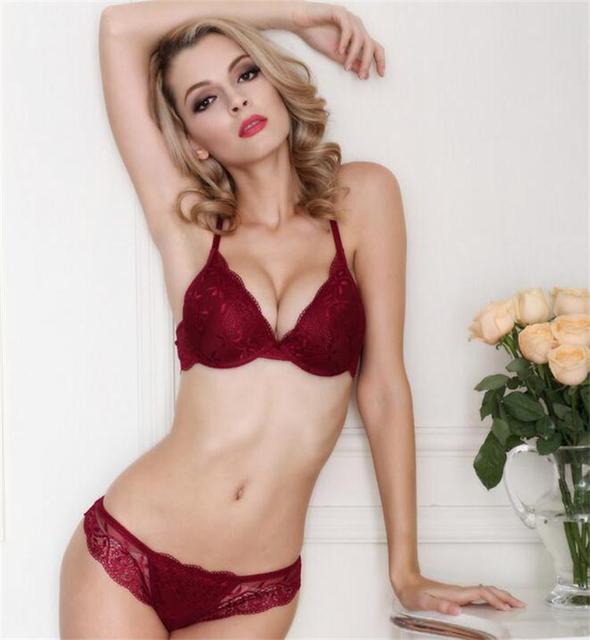 a30b332b7e2f Black Bordeaux Sexy Womens Lace Lingerie Bra Set 36A 36C 36B 38C 38B 34A 34B  34C+ Free Shipping 12002625