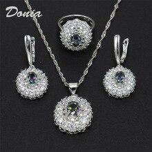 Donia biżuteria moda pierścień naszyjnik kolczyki faliste kwiat w kształcie cyrkonu garnitur ślub diadem dla panny młodej trzy zestawy