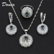 Donia takı Moda yüzük kolye küpe dalgalı çiçek şekilli zirkon takım elbise düğün gelin tacı üç setleri