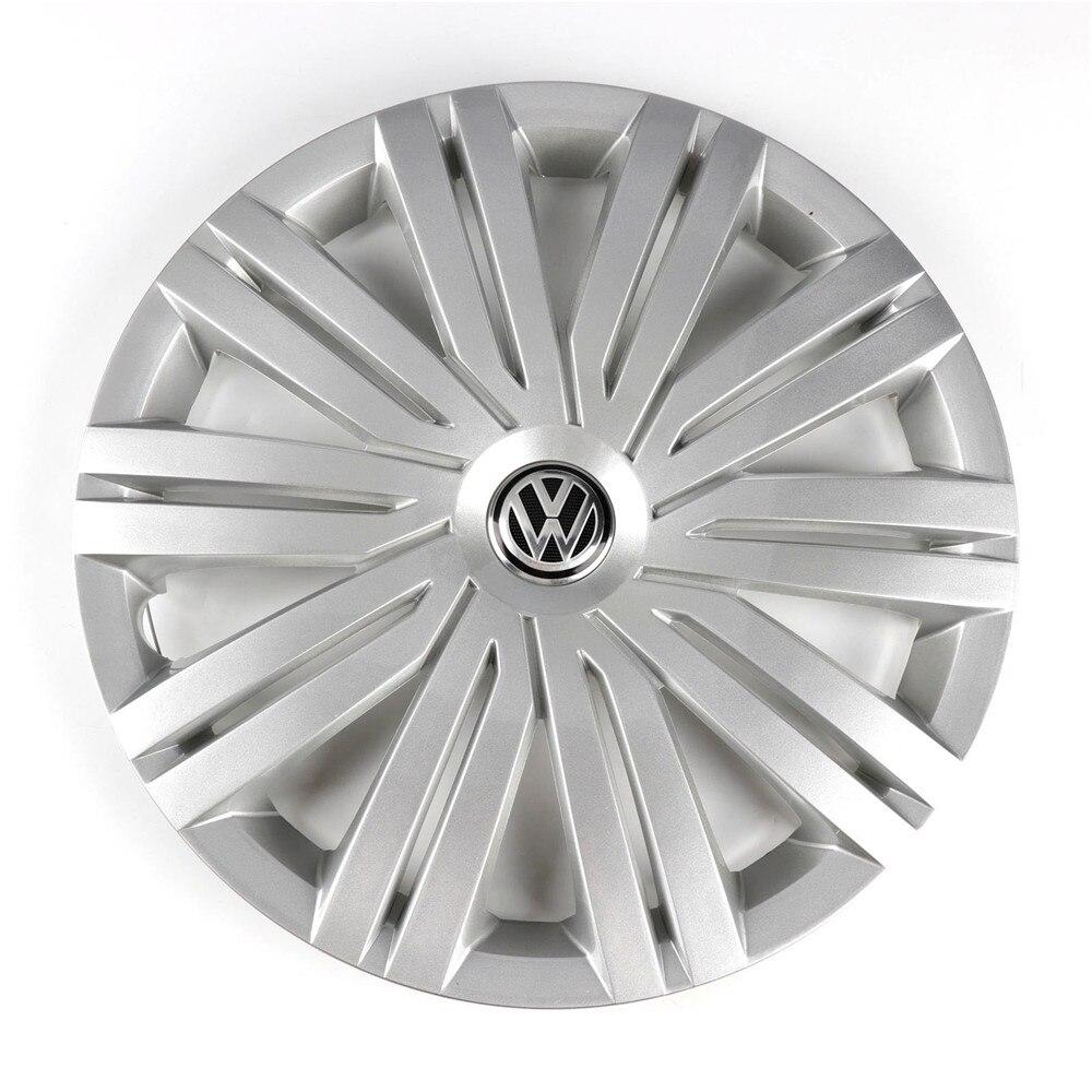 Otomobiller ve Motosikletler'ten Ocak Kapakları'de OEM krom 415mm 41.5cm tekerlek jant kapağı göbek kapağı Logo amblemi yedek VW Volkswagen Polo için 2017 6RD 601 147 H title=