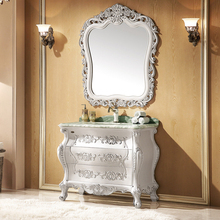 pearl white and foil paint silver oak cabinet and mirror, colored jade marble, single hole and single basin bathroom vanities