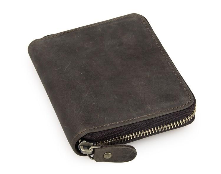 Vintage Short Size Dark Brown Real Genuine Leather Men
