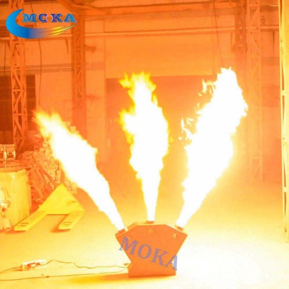 Triple Flame Thrower Machine DMX Fire Machine Stage Effect Equipment Flammen Projektor 2pcs lot fire machine flame machine 3m height special effect fire spray machine dmx 512 fire thrower