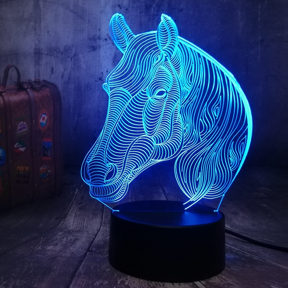 Amroe 3D LED Horse Lamp 7 Color Change Desk Table Night Light USB Remote Control Home Decoration Excellent Present For Kids Gift
