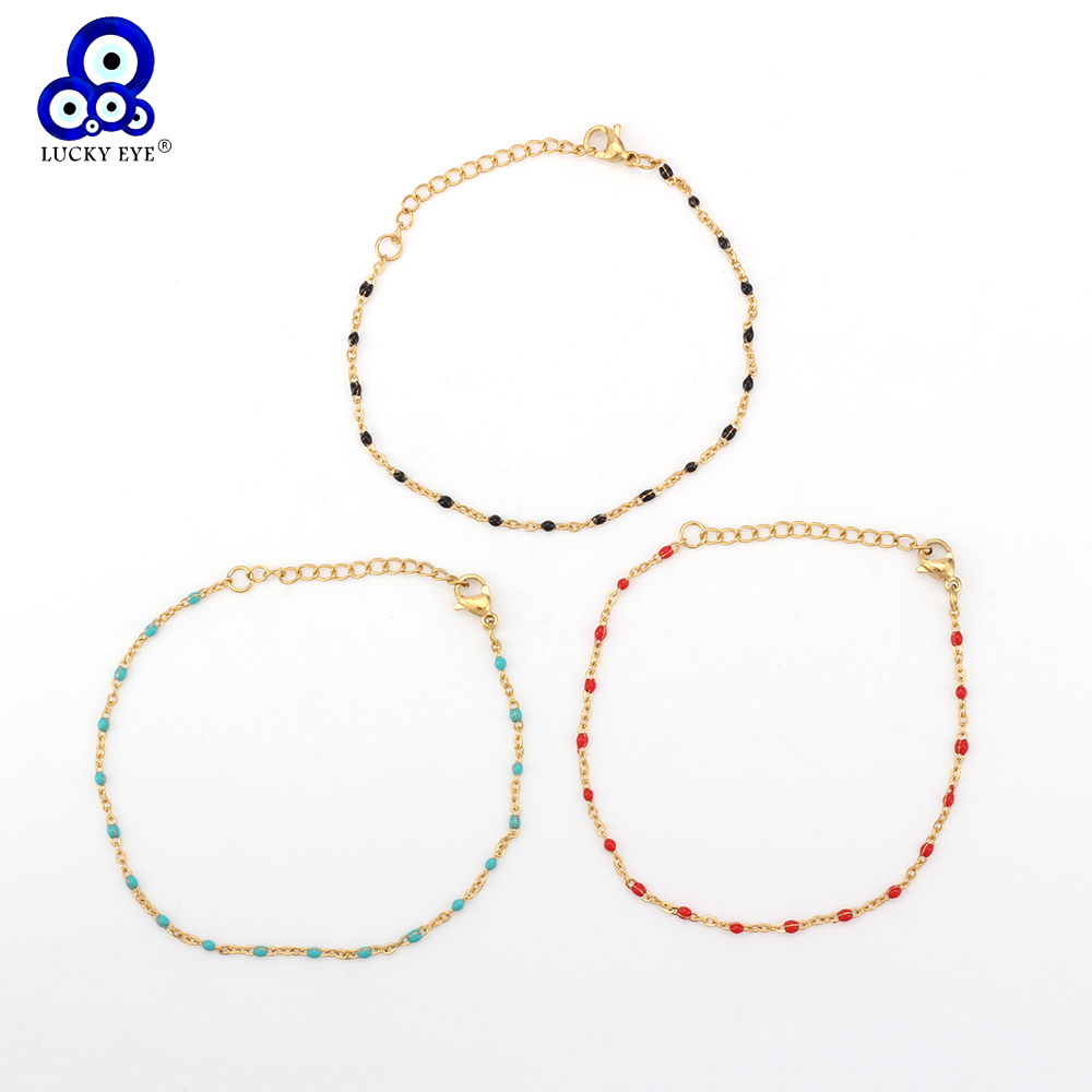 Lucky Eye Mini Beaded Bracelet Gold Stainless Steel Chain Link Bracelet For Women Female Bracelet Jewelry Colorful Gifts EY6237