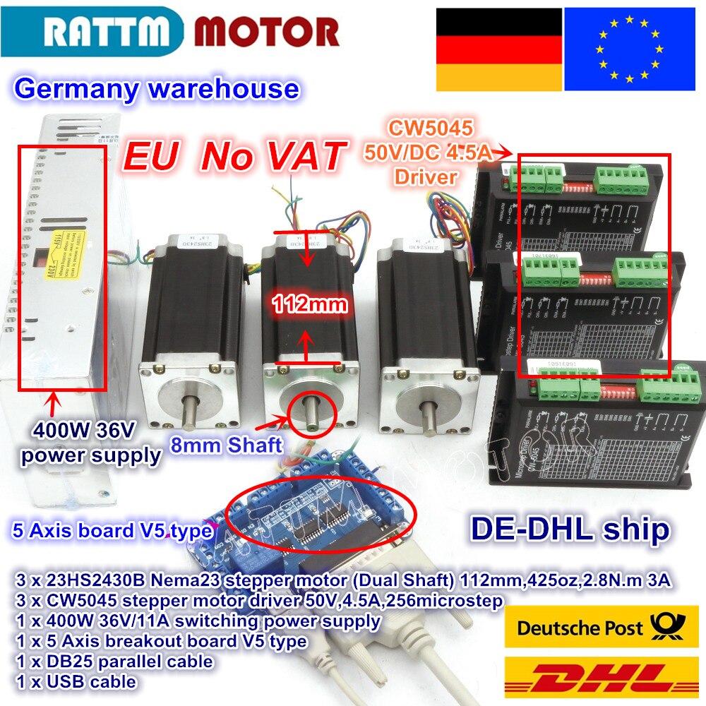 DE la nave/trasporto IVA 3 Assi Nema23 425Oz-in Doppio albero Motore Passo A Passo + 256 Microstep Driver di CNC macchina per incidere