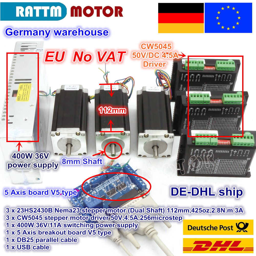 DE ship / free VAT 3 Axis Nema23 425Oz-in Dual shaft Stepper Motor + 256 Microstep Driver CNC engraving machine de ship free vat 4 axis nema23 425 oz in dual shaft stepper motor cnc controller kit