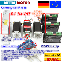 DE ship / free VAT 2015 New  3 Axis Nema23 425 Oz-in Dual shaft Stepper Motor + 256 Microstep Driver CNC engraving machine