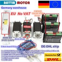 EU ship / free VAT 3 Axis Nema23 425Oz in Dual shaft Stepper Motor + 256 Microstep Driver CNC engraving machine