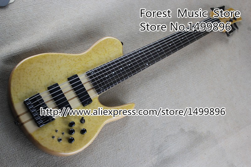 New Arrival 7 String Bass Guitars Birdseye Maple Finish Chinese Electric Bass Guitarra Free Shipping new arrival nature wood grain finish wolfgang evh peavey guitars electric as picture