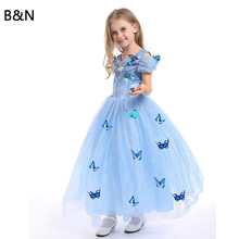 B&N Cinderella Girls Elsa Dress Costumes For Kids Cosplay Dresses Princess Anna Dress Children Party Dresses Fantasia Vestidos недорого