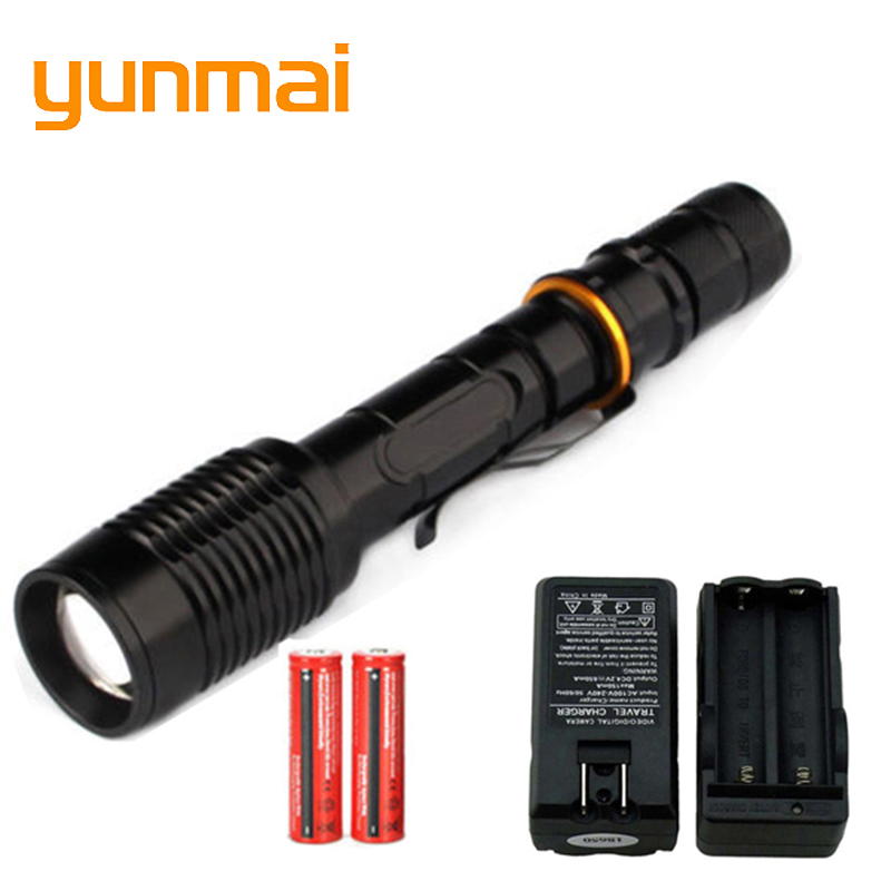 5000 Lumen Flashlight CREE XM-L T6 LED Flashlight Torch Zoom Lamp Light+2x18650 Battery+EU/US/AU/UK Plug Charger for Hunting led tactical flashlight 501b cree xm l2 t6 torch hunting rifle light led night light lighting 18650 battery charger box