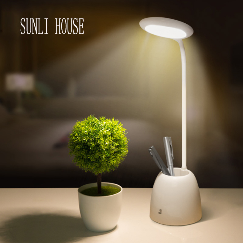 SUNLI HOUSE Touch LED Reading Light Modern Bedroom Bedside Fashion Table Lamp With Fan Pen Container Flexible led lighting