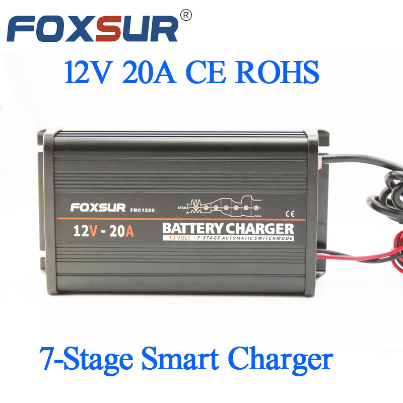 FOXSUR 12V 20A 7-stage smart Lead Acid Battery  Charger , Aluminum case Car Battery Charger  Input voltage: 180-260V AC, 50Hz 220v to dc 24v battery charger for lead acid battery