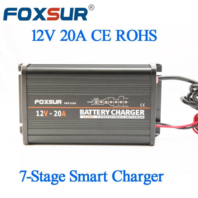 FOXSUR 12 V 20A 7-étape intelligentes Plomb Chargeur De Batterie, boîtier en aluminium Batterie De Voiture Chargeur tension D'entrée: 180-260 V AC, 50Hz