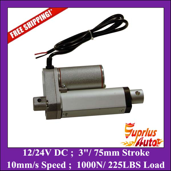 """Free Shipping 75mm/3"""" stroke electric linear actuator 225LBS/100KGS/1000N load DC 12V/24V small linear actuator"""