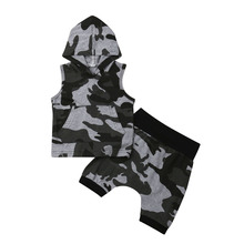 1-5Y Kids Baby Boys Camo Clothes Sets Sleeveless Hooded Tops Pants Shorts Outfits Clothes