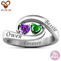 AIJAJA 925 Sterling Silver Two Heart Stones Free Engraving Promise Ring Personalized Name Couple Ring Jewelry