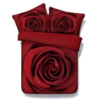 3D Big Red Rose Comforter set Bedding duvet cover bedspread bed in a bag sheet Cal King queen size full double twin bedset 5PCS