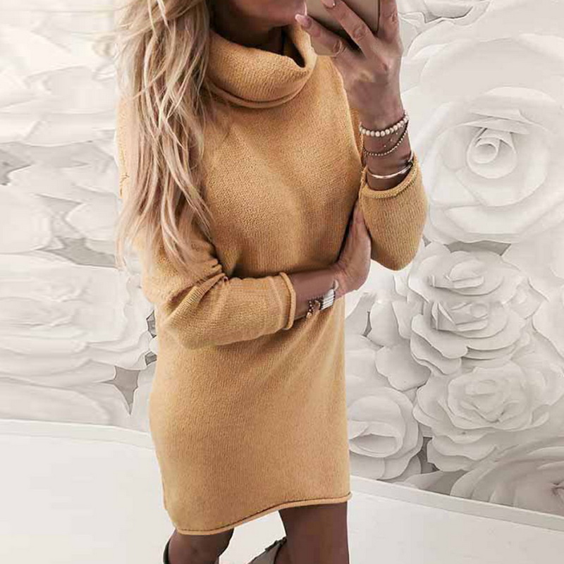83abb7505af LASPERAL 2019 Fashion Women Solid Turtleneck Sweater Dress Casual Long  Sleeve Pullover Dress Autumn Slim Solid