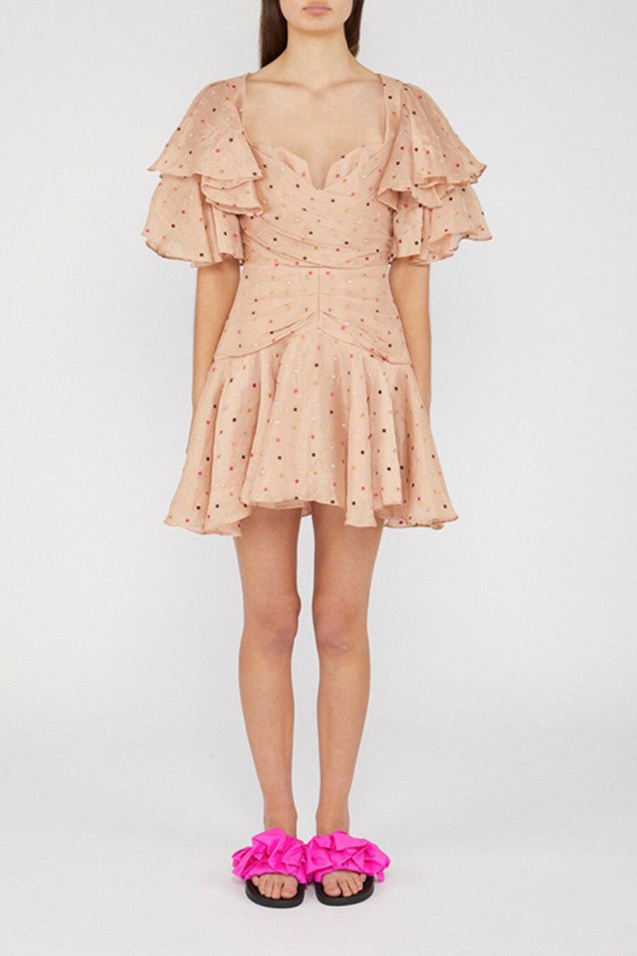 Femmes mode volants col carré en mousseline de soie vague Point Mini robe 2019 plus récent été Designer piste partie Sexy robes courtes