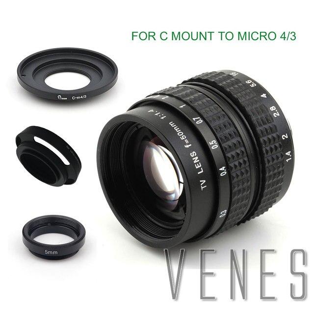 Venes 50mm f/1.4 CC TV F1.4 Lens for Nikon 1 M4/3 for Pentax Q Nex for Fuji FX EOS M A6300A5100 A6000 A5000 A3000 OM DE M10 II