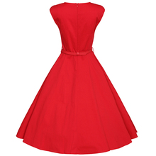 FRISMODE XS-4XL 2017 Summer Fashion V-neck Midi Red Swing Dress Plus Size Vintage 1950s 60s Dresses Women Retro rockabilly Dress