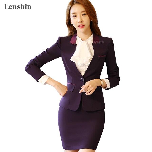 621d31e202b958 Lenshin 2 stücke Set Herbst Rock anzüge Elegante Frauen Business Lila  Blazer mit Rock V-