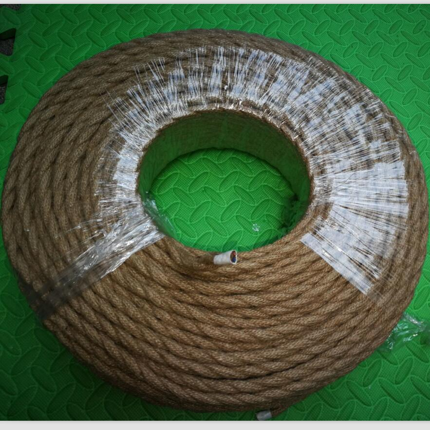 50-100m/lot 2x0.75 Vintage rope Wire Twisted Cable Retro Braided Electrical Wire DIY pendant lamp wire vintage lamp cord