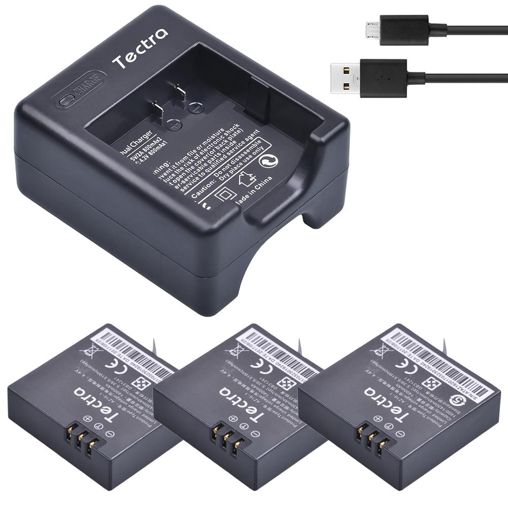 Tectra 3 x 1400mAh AZ16-1 for Xiaomi Yi 4K II Repalcement battery + USB Charger for XiaoYi 4K 2 Action Sports Cameras the yijia yi 1 1 x 001