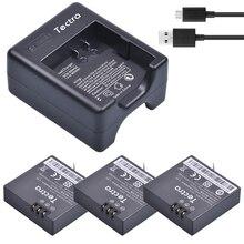 Tectra 3 x 1400mAh AZ16-1 for Xiaomi Yi 4K II Repalcement battery + USB Charger for XiaoYi 4K 2 Action Sports Cameras
