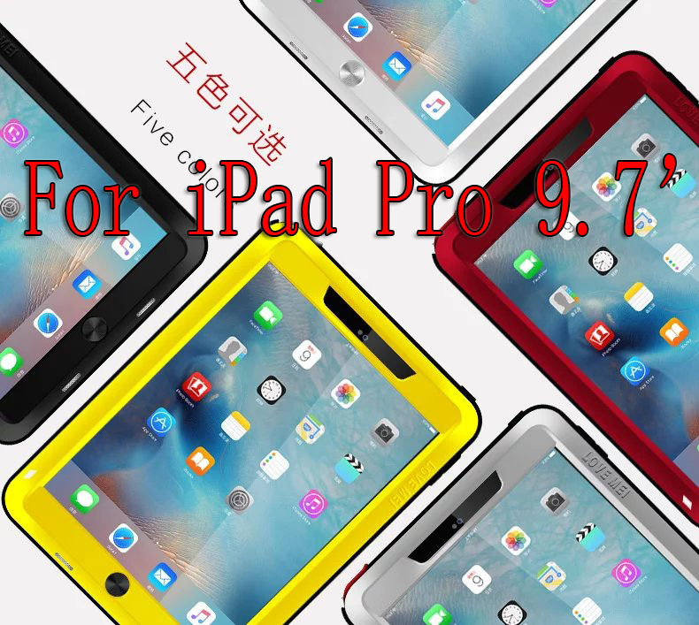 Love Mei Shockproof Waterproof Case Cover For iPad Mini 1 2 3 4 iPad 2 3 4 5 6 Air 2 iPad Pro 9.7 Tempered glass protective film original homtom ht3 pro package gift tempered glass film protective cover