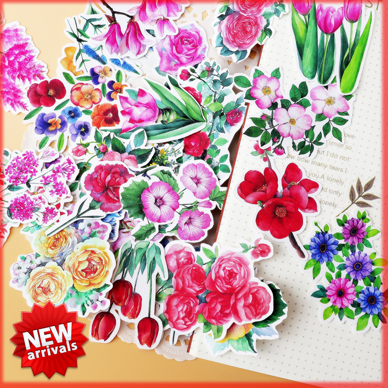 28pcs Kawaii Flower And Rose Stickers Scrapbooking Pegatinas Stationery Bullet Journal Papelaria Notebook Thin Paper Sticker