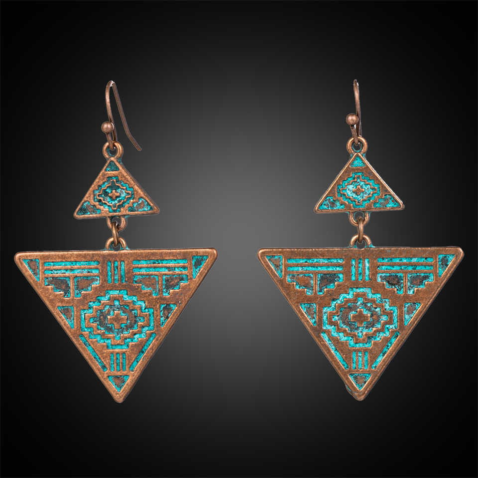 Antique Ethnic Geometric Triangle Dangle Hanging Drop Earrings for Women 2018 New Fashion Women Vintage Ear Jewelry Accessories