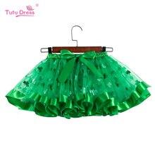 Baby Girl SkirtGreen Clover Print Tutu Skirt Girl Kids Party Dance Wear Tulle Puffy Shiny Princess Summer Clothes Baby Costume
