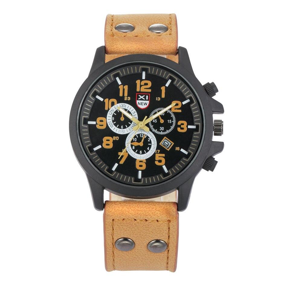 0f056587ba5 XINEW Mens Relógios Top Marca de Design Militar Moda Casual Pulseira de Couro  Relógio de Quartzo com Calendário Nouveau Montre Homme Marque
