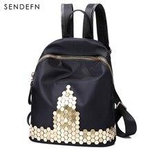 Sendefn модные женские туфли рюкзак высокое качество молодежи нейлон рюкзаки для девочек-подростков Женский школьная сумка рюкзак Mochila