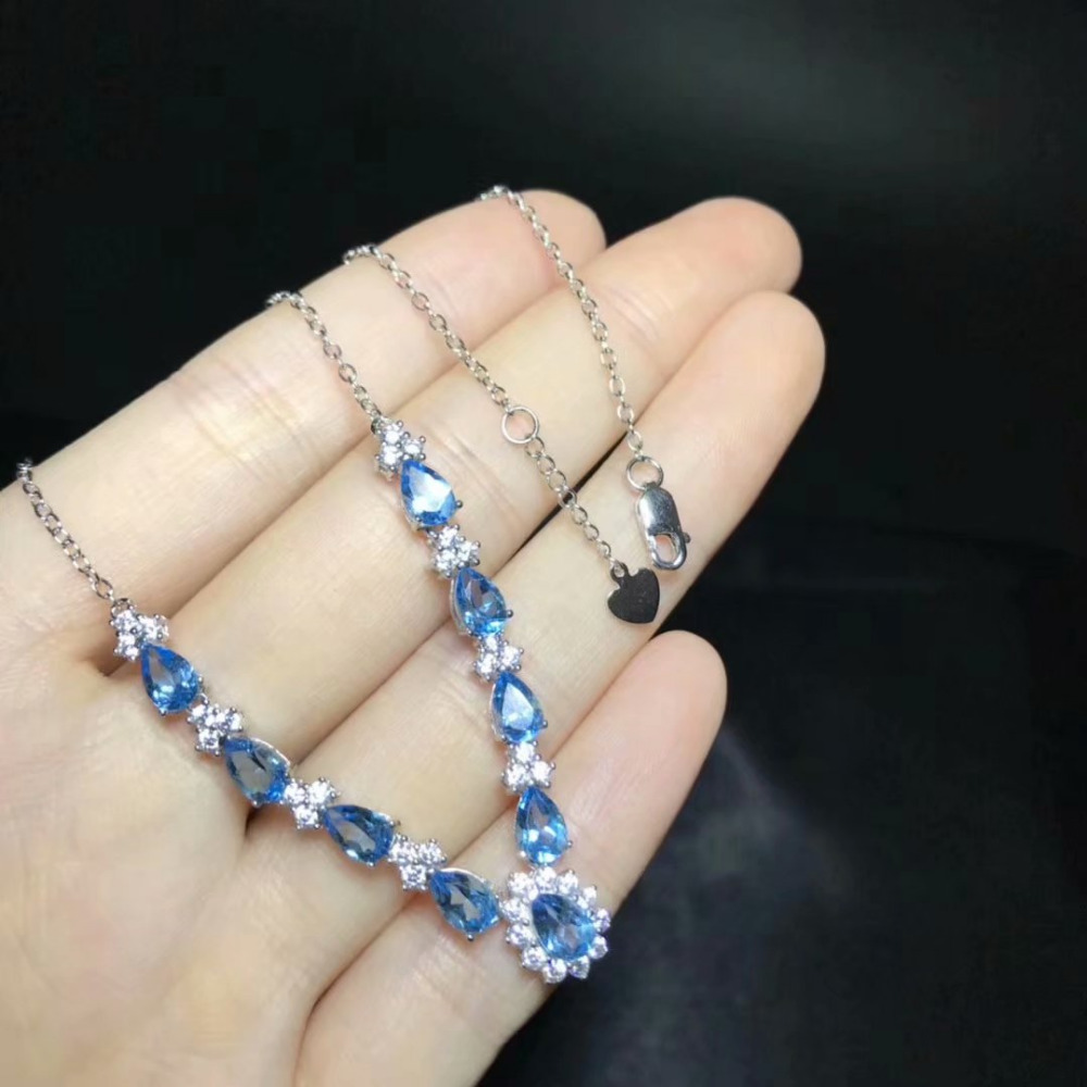 natural blue topaz gem Necklace natural gemstone Pendant Necklace S925 Fashion elegant Water drop woman party gift fine Jewelry цена 2017
