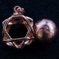 10mm Natural Genuine Bead Moldavite GibeonIron Meteorite Gemstone Rose Gold Fine Jewelry Pendant Bead Ball 11g AAAAA