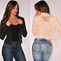 Mulheres primavera Outono Nova Moda Outerwear Curto Cardigan Sólidos Casual Magro Voltar Bandage Sexy Tops F1213
