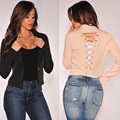 Spring Autumn Women Outerwear New Fashion Short Solid Cardigan Casual Slim Back Bandage Sexy Tops F1213