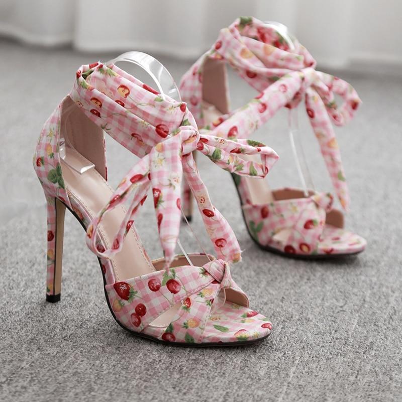 Correa Zapatos Sandalias Mujeres 11 Cm Tobillo Encaje Señoras Las Fiesta Dulce Mujer De Tacones Atado Cuadros x5EYww0qUf