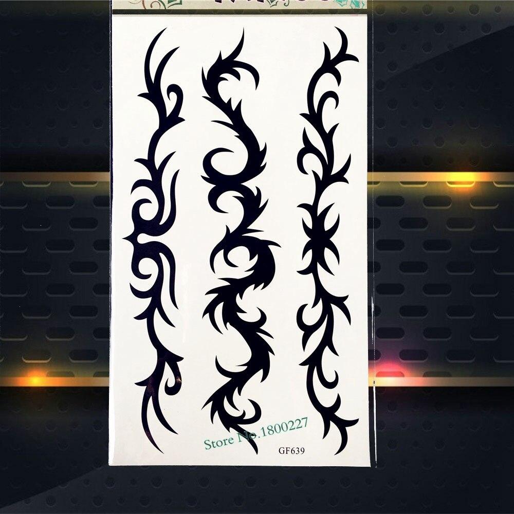 Black henna waterproof temporary tattoo stickers women men for Black temporary tattoo