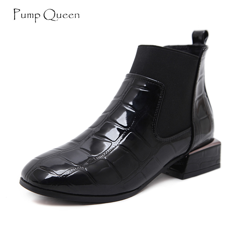 PumpQueen Fashion Chelsea Boots Women Shoes 2018 Spring Shoes Woman New Geometric Patent Leather Flat Ankle Boots tenis feminino